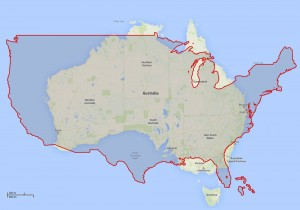 usa compared to australia continent using google maps