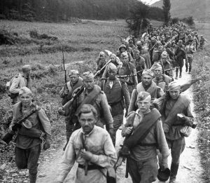 Soviet soldiers on the march in northern Korea in October of 1945